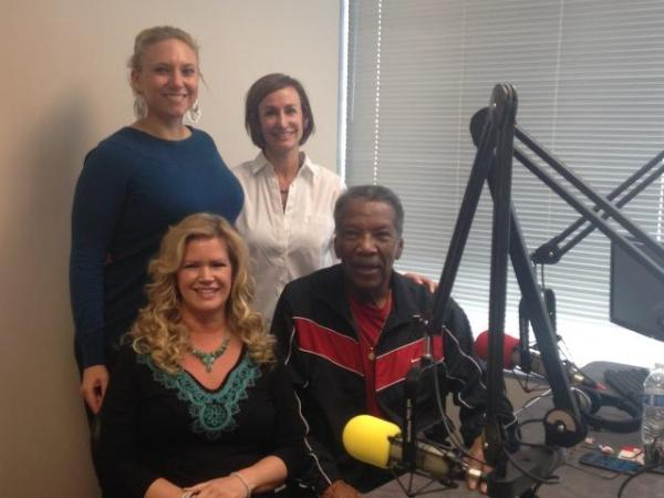 From left to right Lois Owens Co-host & Fred Taylor Host Standing Brittany Conklin, Media Relations Mgr. American Cancer Society & Natalie Pons, Sr. Vice President , Assistant General Counsel, CVS Health